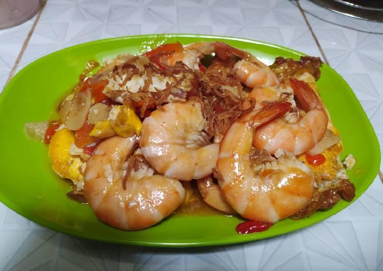 Resep Udang telur saos tiram Anti Gagal
