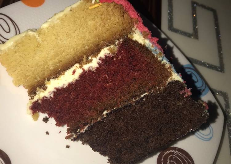 Vanilla, chocolate and Red velvet cake