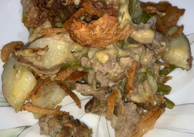 Ground turkey, potato, and asparagus casserole