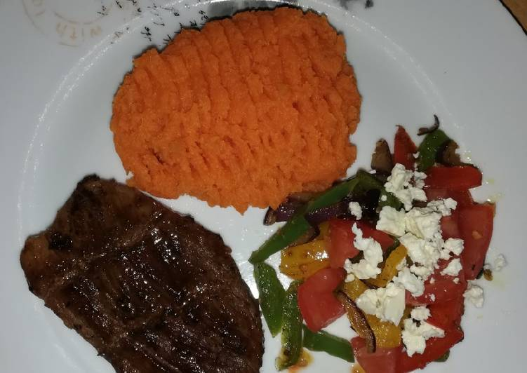 Deciding On The Best Foods Can Help You Stay Fit And Also Healthy Steak peppers and sweet potato