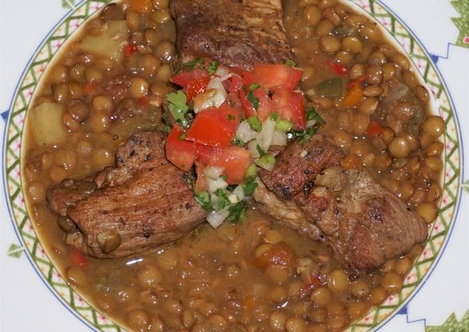 Cajun pork and lentils