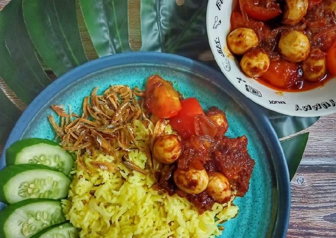 Nasi Lemak Kuning (Tanpa Santan) & Sambal Telur Puyuh