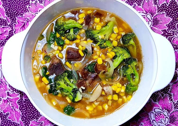 Lidah sapi jagung manis dan brokoli saus tiram