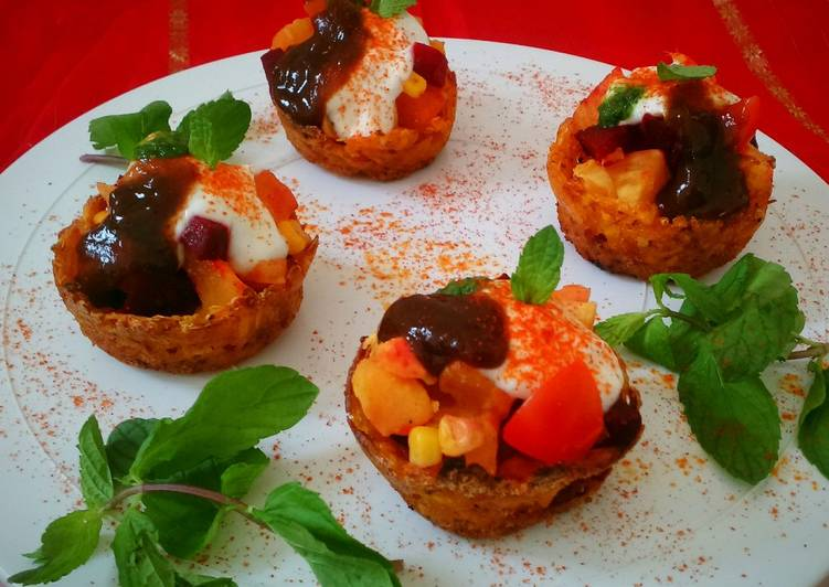 Baked Pumpkin Katori Chaat with Sweet potato and Beetroot