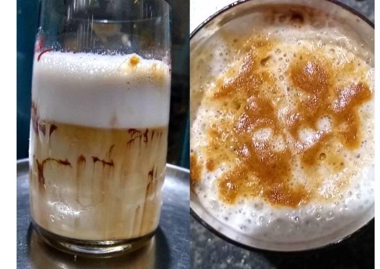 Steps to Make Super Quick Homemade FROTHY COLD COFFEE (no icecream,no machine)