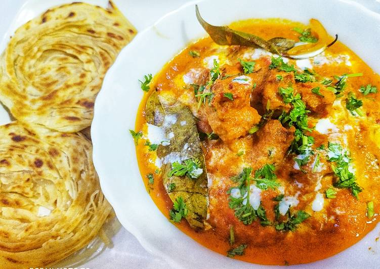 Easy Restaurant style Butter chicken with lachha paratha recipe
