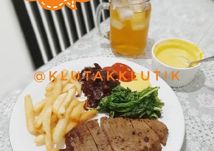 Beef Steak Rumahan🏘 Honey mustard souce