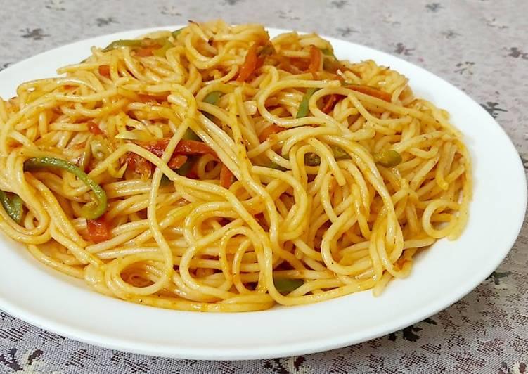 Easiest Way to Prepare Ultimate Vegetable szechuan spaghetti