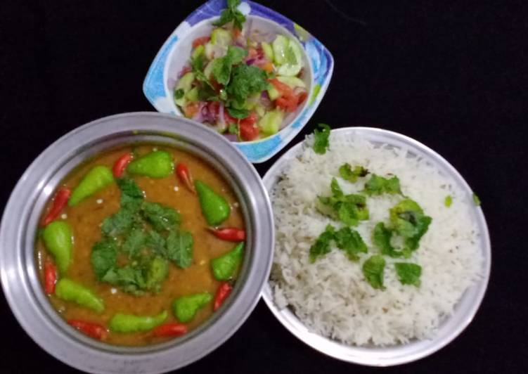 Simple Way to Make Speedy MOONG MASOOR Ke DAAL WITH BOILED RICE & SALAD