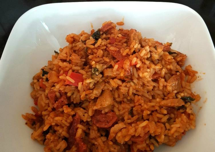 15 Minute Steps to Make Summer My Spanish Rice with Chopped Chorizo and tenderloin pork. 😀
