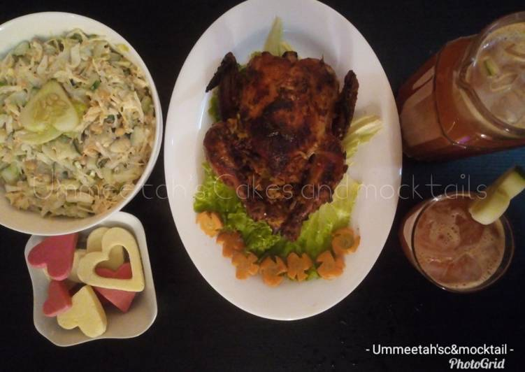 Recipe: Yummy Grilled chicken stuffed with fried rice,coleslaw&veg.juice(Val)
