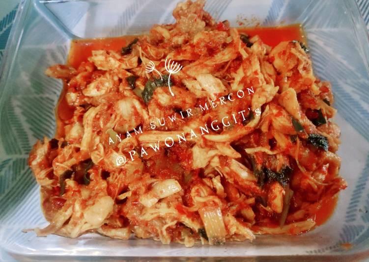 Ayam suwir sambel mercon