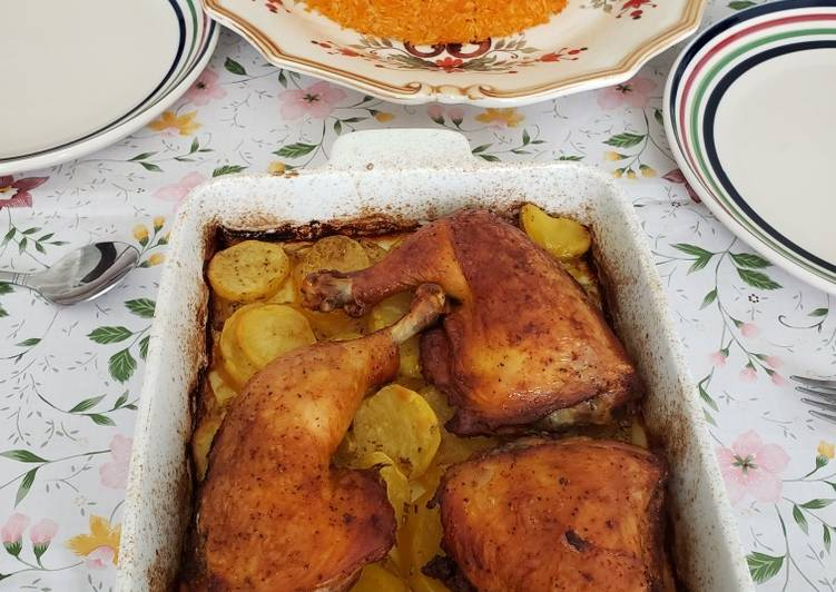 Recipe: Yummy Red rice with chicken legs and potatoes