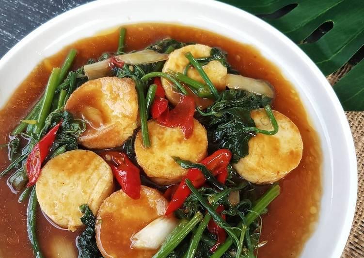 Sayur daun labu tofu hoisin