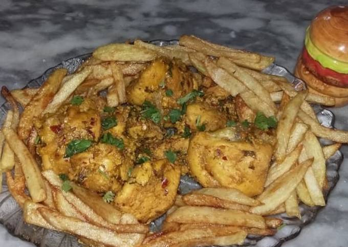 Chicken steem with french fries