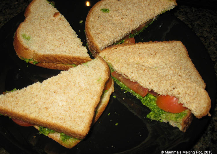 Cucumber and Tomato Sandwiches with Mint-Coriander Chutney