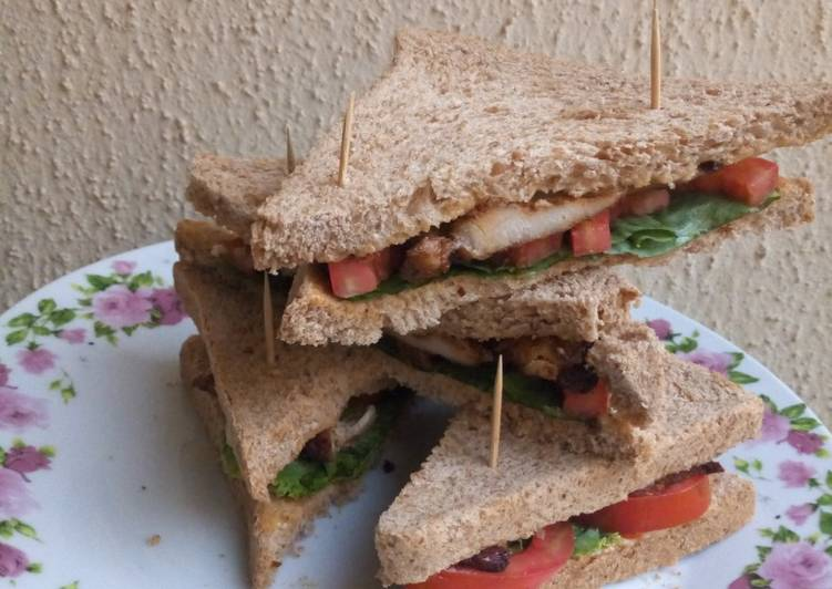 Easiest Way to Prepare Super Quick Homemade Grilled chicken sandwich with wheat bread