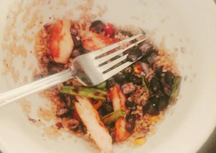 Quinoa, Chicken, and bean stir fry