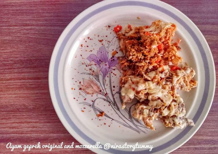Ayam geprek original and mozzarella