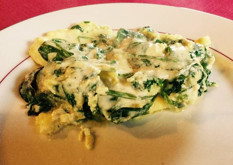 Onctueuse omelette aux épinards