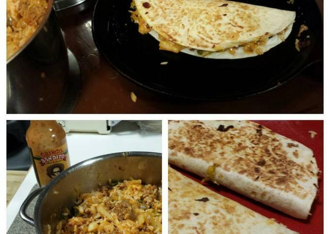 Recipe: Tasty Kimchi Fried Rice Quesadilla with Chorizo