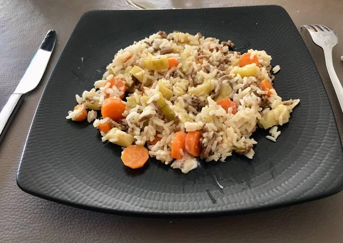 Riz aux légumes et viande hachée au Cookéo