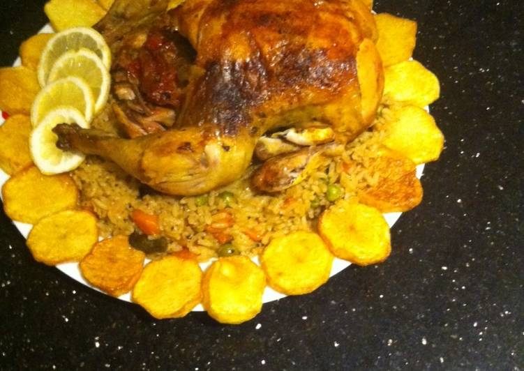 Roasted chicken with rice and veg