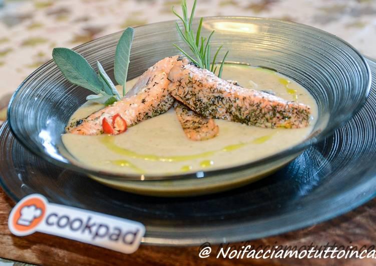 Ricetta Trancetti di salmone agli aromi su vellutata di fagioli cannellini