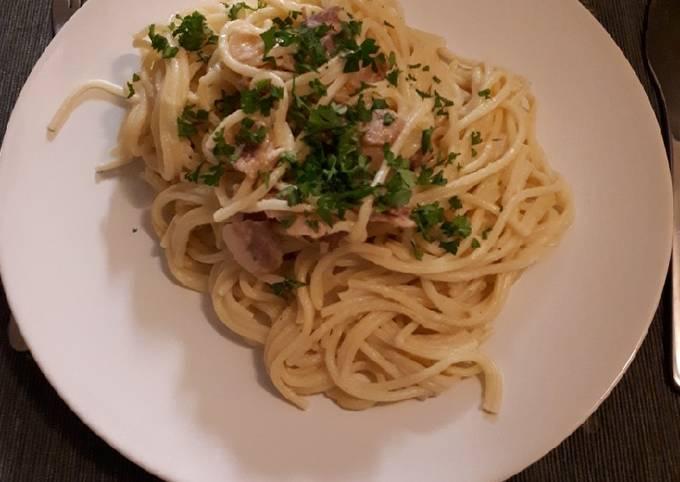 Spaghetti carbonara au chou fleur