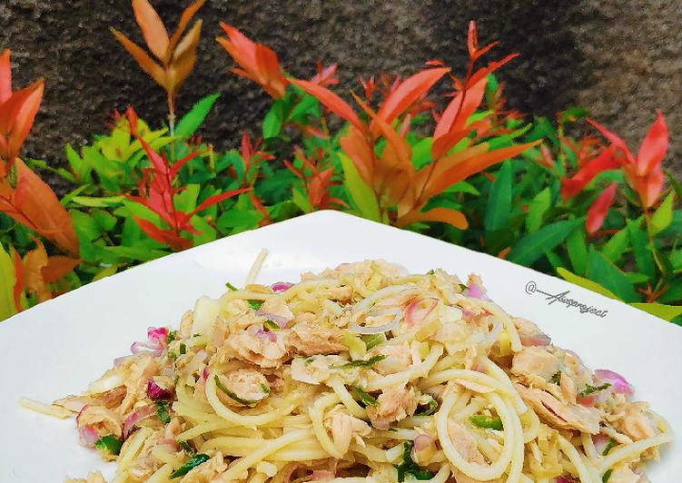Resep Spaghetti Tuna Sambal Matah (Rendah Kalori)