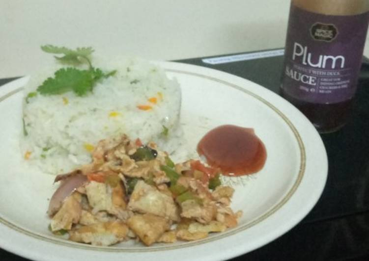 Braised rice with scrambled eggs,and plum sauce
