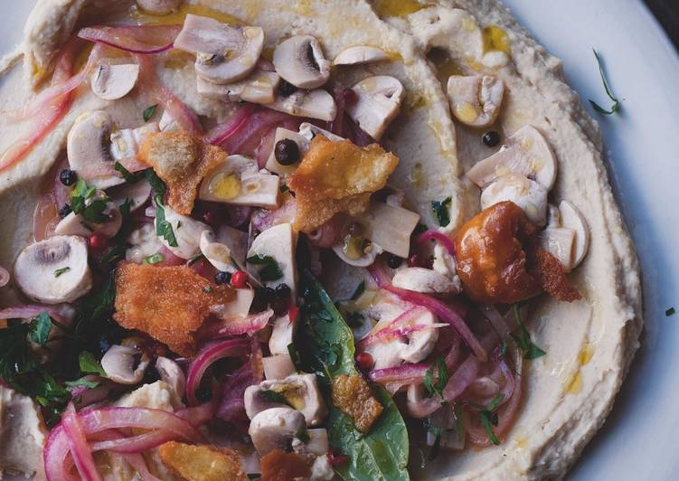 Step-by-Step Guide to Make Award-winning Cannellini bean purée with pickled mushrooms and pitta croutons