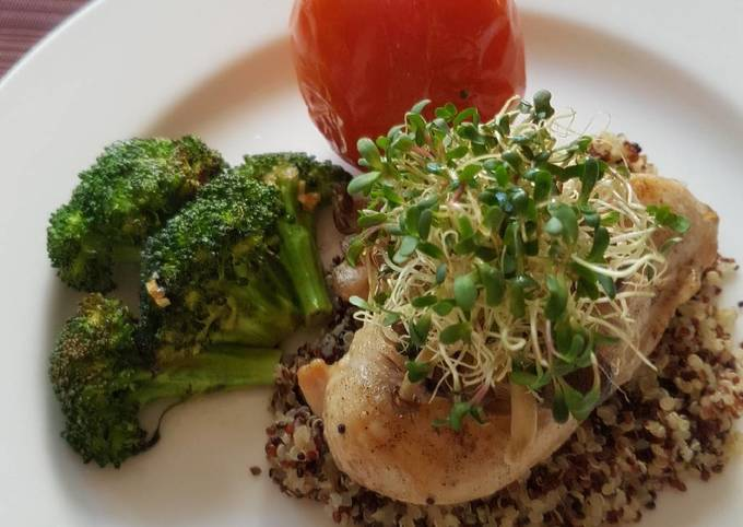 Baked Chicken With Tricolour Quinoa