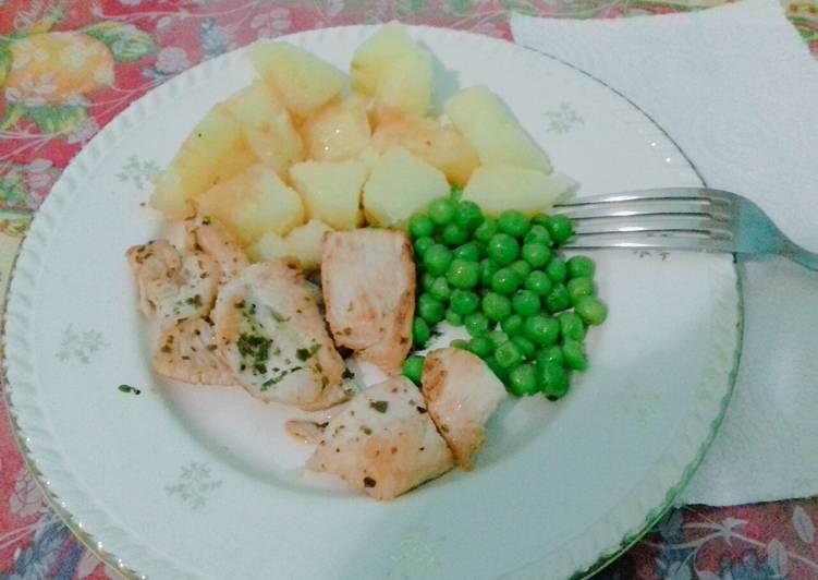 recette Pomme de terre et petits pois facile le délicieux
