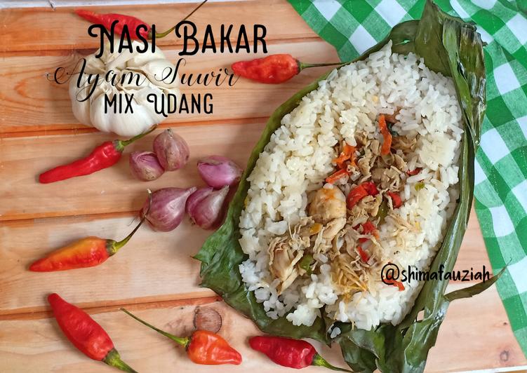 Nasi Bakar Ayam Suwir mix Udang