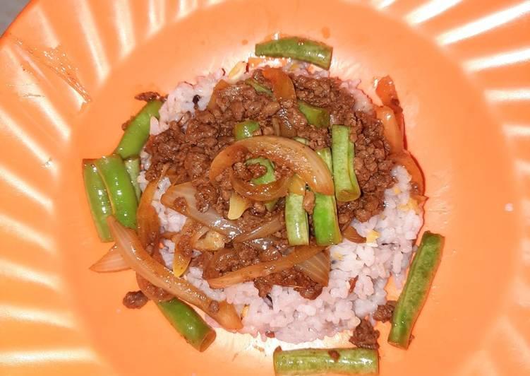 Tumis daging cincang buncis