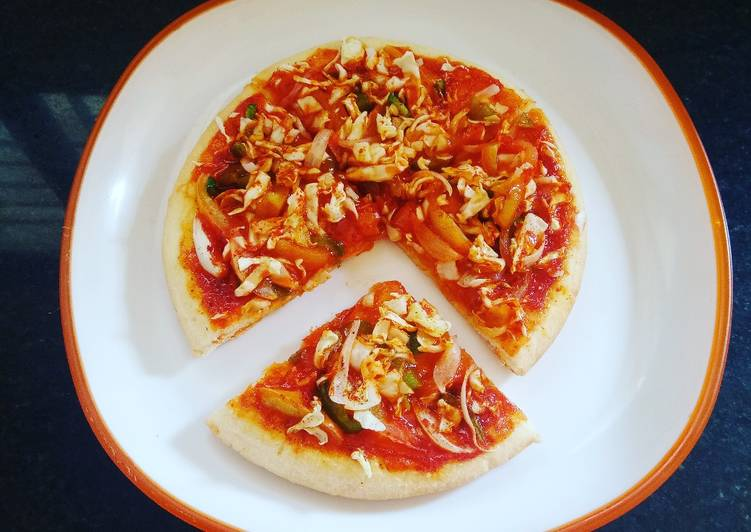 Maggi Pizza with Whole Wheat and Eggless base