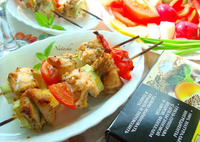 Шашлычки рыбные с овощами