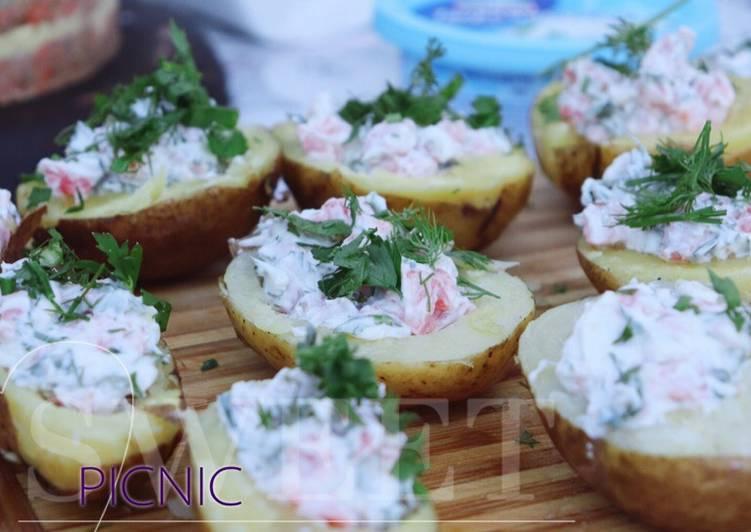 Закуска для пикника из картофеля | Картофельные лодочки |