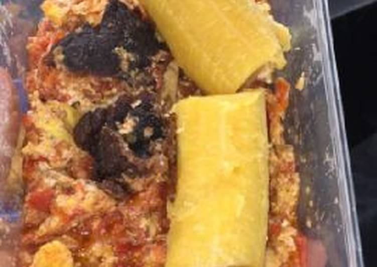Boiled plantain with meat and egg sauce