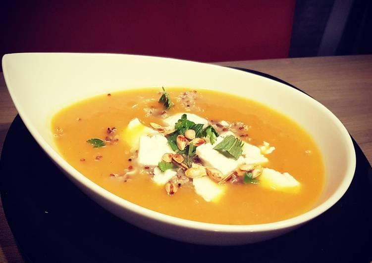 Recette Appétissante #Velouté #carottes, #quinoa et feta