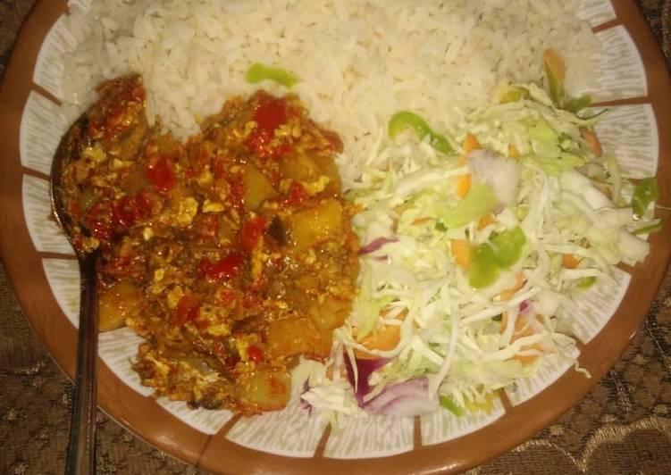 Recipe: Delicious Rice, Salad & Potato Stew