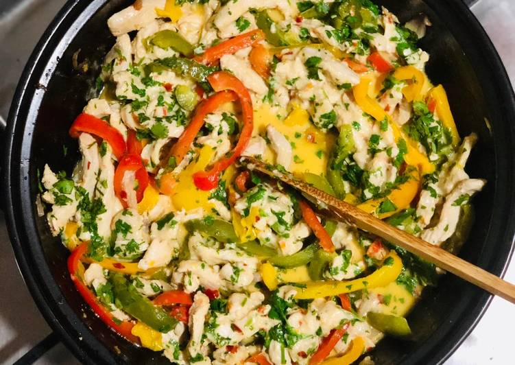 Easiest Way to Make Quick Bell pepper creamy chicken