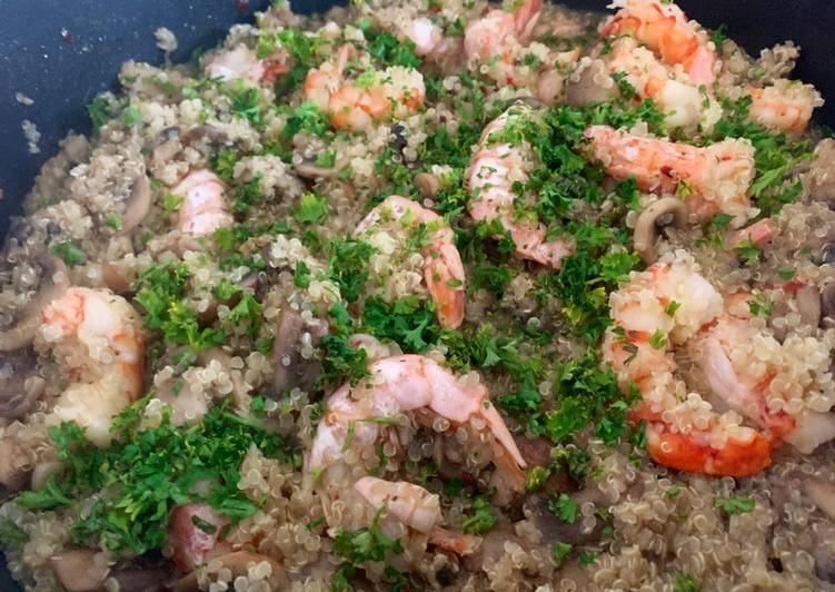 "Steps to Prepare Award-winning Quinoa ""Risotto"" Mushrooms and Prawn"