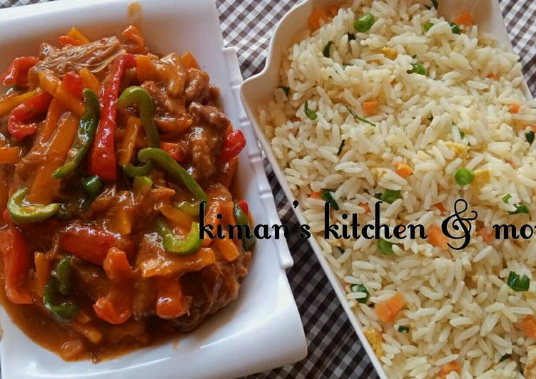 Chinese rice with shredded beef