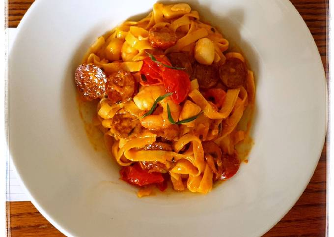 Seafood pasta with chorizo
