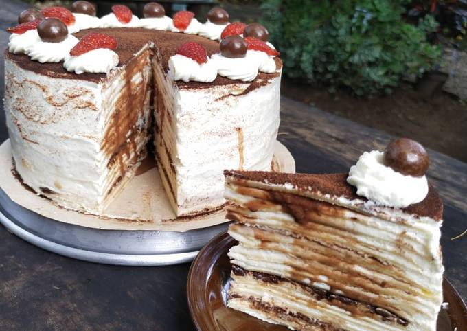 Mille crepes cake chocolate