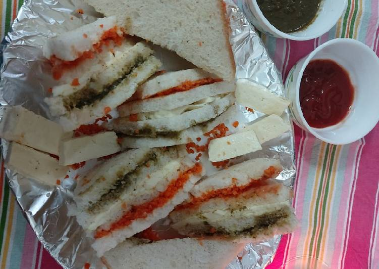 Recipe of Super Quick Homemade Paneer carrot chattny sandwiches/ special republic day