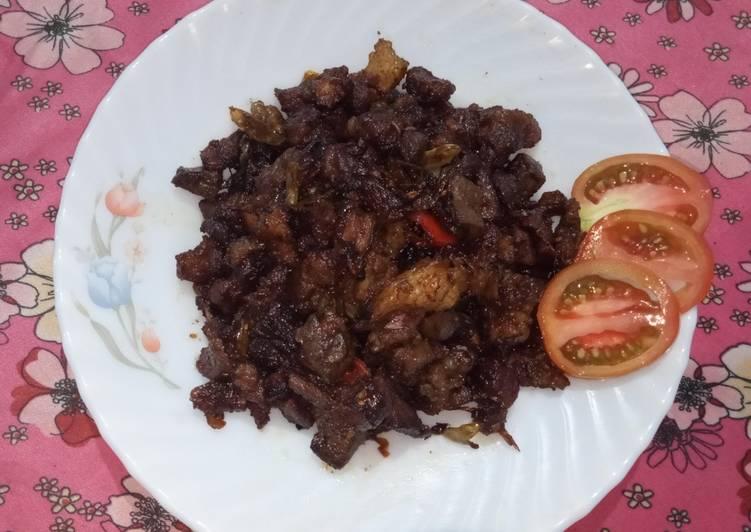 Oseng oseng daging kambing pedas manis