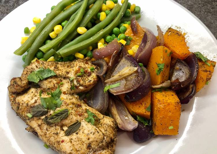 Easiest Way to Cook Delicious Harissa Chicken and Butternut Squash Traybake
